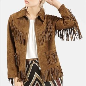 Brown suede leather Topshop western fringe jacket